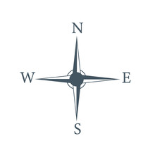 Four Cardinal Directions, Or Cardinal Points. Compass Rose With North, South, East And West Indicated, Stock Vector Illustration Isolated On White Background.