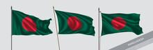 Set Of Bangladesh Waving Flag On Isolated Background Vector Illustration