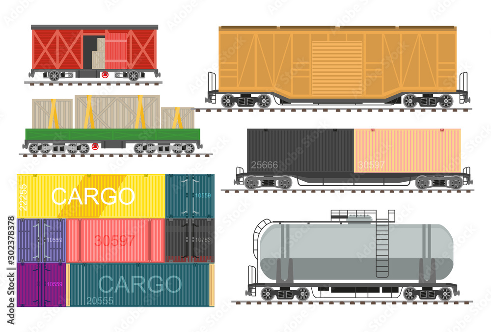 Fototapety, obrazy: Railway transport, freight train wagons isolated icons