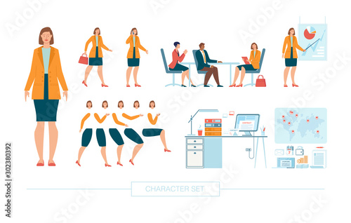 Businesswoman Character Constructor Isolated, Trendy Flat Design Elements Set Wallpaper Mural