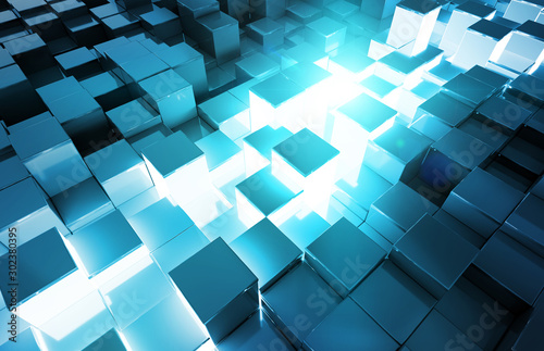 Fotomural  Glowing black and blue squares background pattern 3D rendering