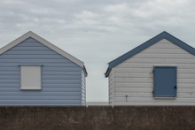 Row Beach Huts, Rental Cabins And Parking Lot, Iverted Colors