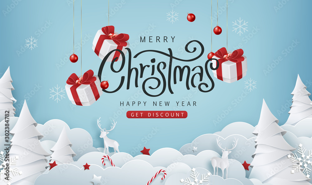 Fototapety, obrazy: Merry christmas sale banner background.Merry Christmas text Calligraphic Lettering Vector illustration.