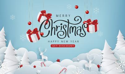 Fototapeta na wymiar Merry christmas sale banner background.Merry Christmas text Calligraphic Lettering Vector illustration.