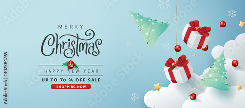 Obraz Merry christmas sale banner background.Merry Christmas text Calligraphic Lettering Vector illustration. - fototapety do salonu