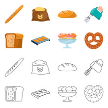 Vector Illustration Of Bakery And Natural Icon. Collection Of Bakery And Business Stock Symbol For Web.
