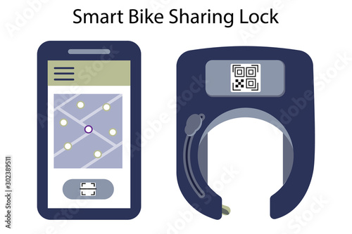 Unlocked smart bike lock against thieves and for rental and sharing services of bicycles or scooters Canvas Print