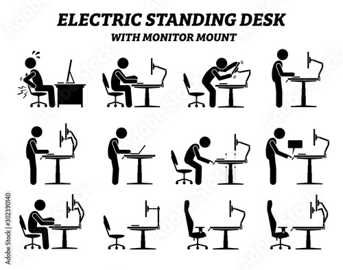 Photo Ergonomic electric standing desk table with monitor mount