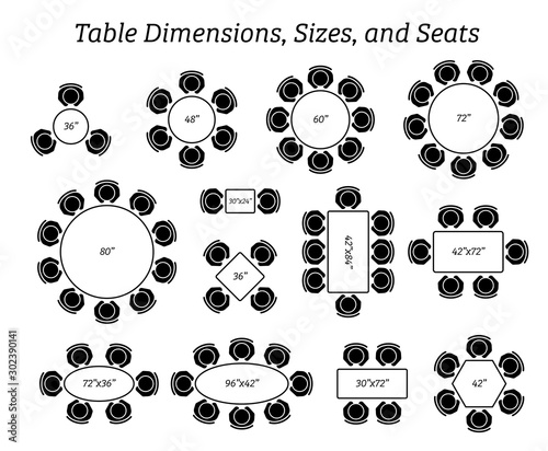 Fotomural Round, oval, and rectangular table dimensions, sizes, and seating