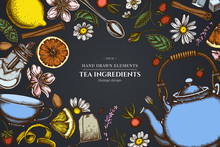 Floral Design On Dark Background With Cinnamon, Lemons, Oranges, Tea Bag, Sugar Cubes, Heather, Chamomile, Dog Rose, Peppermint, Almond, Strawberry, Teaspoon, Teapots, Cups, Sugar Bowl