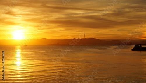 San Francisco bay at sunset from Alameda