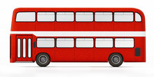Red Double Decker Bus Isolated On White Background. 3D Illustration