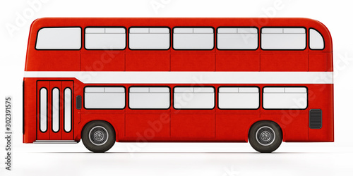 Leinwand Poster Red double decker bus isolated on white background