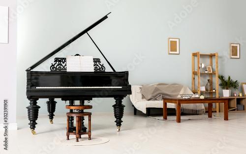 Cuadros en Lienzo  Interior of room with stylish grand piano