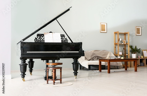 Obraz Interior of room with stylish grand piano - fototapety do salonu