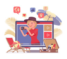 Travel Video Blogger Girl. Young Woman Writing About Beautiful Destinations, Traveling, Leisure, Content Creator Photographer Sharing Tips, Ideas And Inspiration For Social Media. Vector Illustration