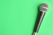 canvas print picture - Modern microphone on color background