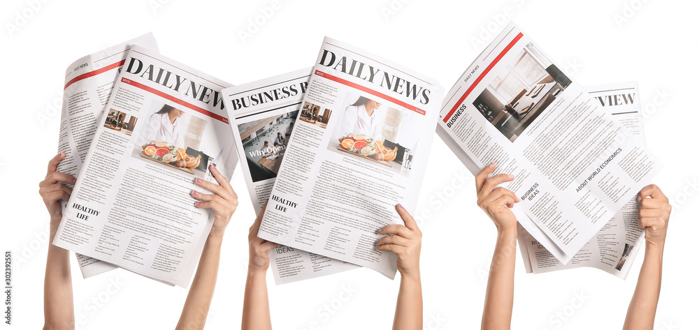 Fototapeta Female hands with newspapers on white background