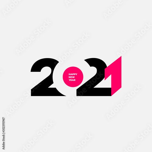 Happy new year 2021 template. Design for banner, greeting cards or print. Vector illustration. Isolated on white background.