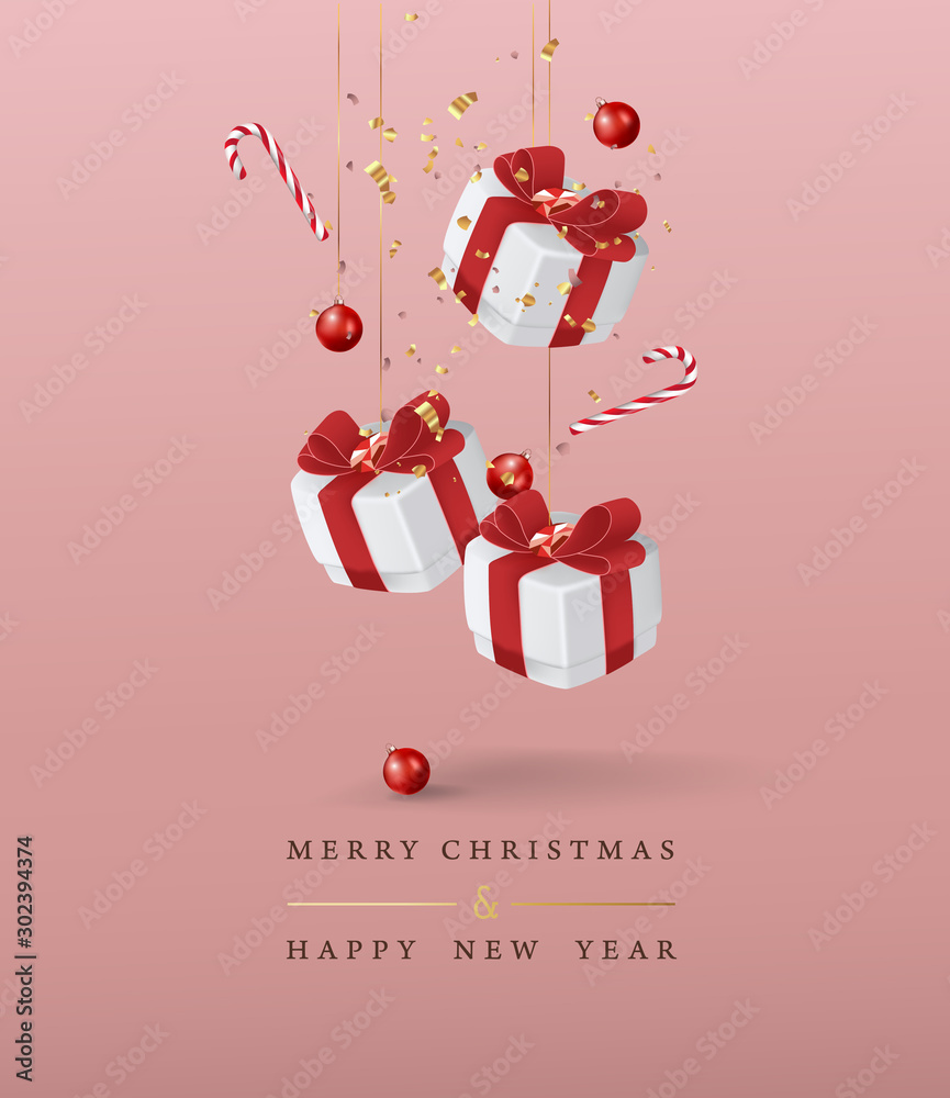 Fototapety, obrazy: Merry Christmas and Happy New Year background. Vector illustration.