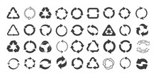 Mega Set Of Recycling Flat Vector Icons. Gray Circle Arrows Flat. Vector Illustration. Circle Gray Arrow Sign Isolated On White Background.