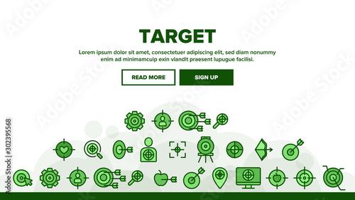 Photo  Target Aim Landing Web Page Header Banner Template Vector