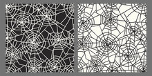 Drawn Chaotic Spider Web Black And White Seamless Pattern Set