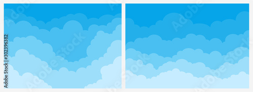 Photo  Big Set of blue sky background with clouds