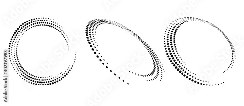 Modern abstract background. Halftone dots in circle form. Round logo. Vector dotted frame. Design element or icon.