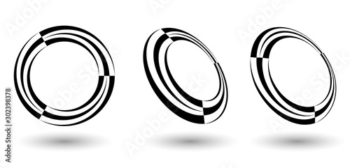 Pinturas sobre lienzo  halftone lines in letter O like logo or icon with differents perspective