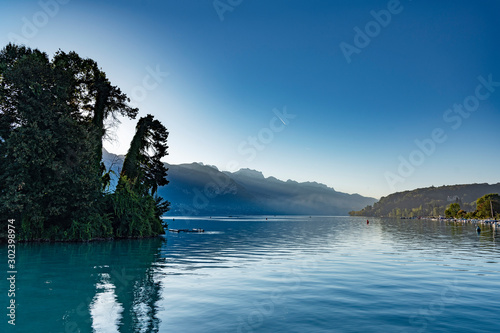 Annecy lake in morning time, France. Wallpaper Mural