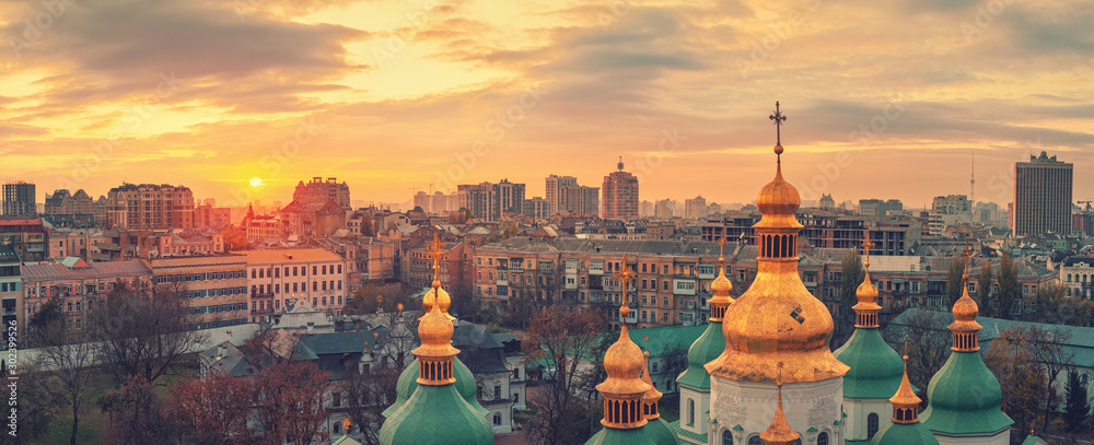 Aerial view of Kyiv city, St. Sophia Cathedral at sunset, Ukraine. Panoramic cityscape