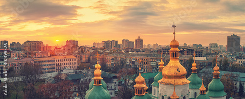 In de dag Kiev Aerial view of Kyiv city, St. Sophia Cathedral at sunset, Ukraine. Panoramic cityscape