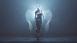 canvas print picture - Modern Supernatural Being Angel in Casual Pants and Top in a Foggy Void with Wings Formed out of Small Spheres and Glowing Eyes and Lens Flare Backlit 3d Illustration 3d render