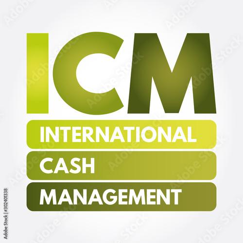 Fotografie, Tablou  ICM - International Cash Management acronym, business concept background