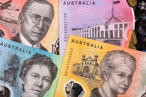 Obraz na plátně  New series of Australian dollars , a business background