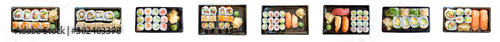 Printed kitchen splashbacks Sushi bar Sushi Set Take Away Mix Set Speisekarte Banner Hintergrund