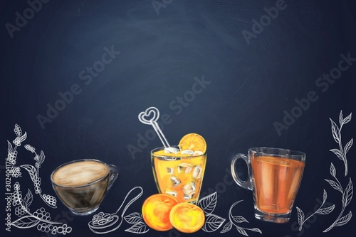 Recess Fitting Tea cup of tea with lemon on wooden background
