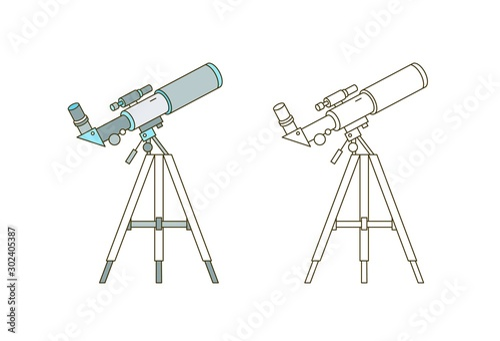 Telescope on tripod linear vector icon Wallpaper Mural
