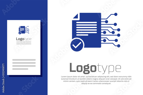 Fotografía  Blue Smart contract icon isolated on white background