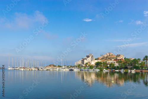 Fotomural Port on La Manga del Mar Menor in sunny day. Murcia, Spain
