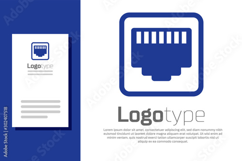Fotomural  Blue Network port - cable socket icon isolated on white background