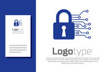 Blue Cyber Security Icon Isolated On White Background. Closed Padlock On Digital Circuit Board. Safety Concept. Digital Data Protection. Logo Design Template Element. Vector Illustration