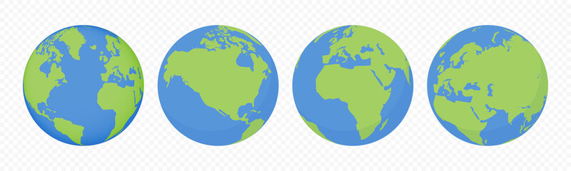 World earth globes, vector icons set. Earth planet continents map. Travel, ecology and geography world globe symbols
