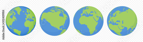 Obraz World earth globes, vector icons set. Earth planet continents map. Travel, ecology and geography world globe symbols - fototapety do salonu
