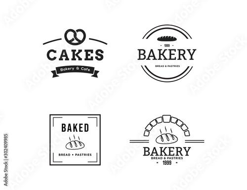 Creative Bakery Concept Logo Design Template, Black and White, Set Logo