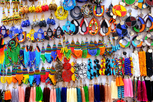 Tanzania Zanzibar handcrafted ethnic earrings on display board in Stone Town Canvas Print