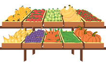 Interior Of Store, Mall, Shopping Center, With Grocery Counters, With Fresh Fruit And Vegetables. Store Food Products, Shopping Mall, Counter With Foods. Vector Illustration.