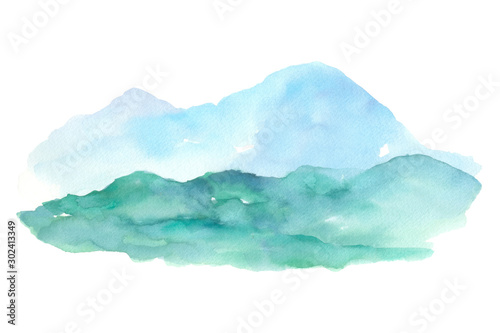 Foto auf Leinwand Weiß Blue mountain and hills isolated on white background landscape watercolor painting hand drawn on paper