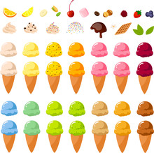 Vector Illustration Of Various Kinds Of Colorful Ice Creams, Sugar Cones And Toppings To Build Your Own Ice Cream